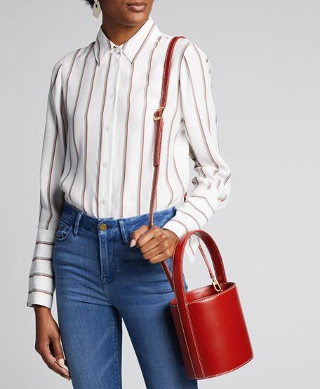 Bissett Smooth Leather Top-Handle Bucket Bag - Saddle