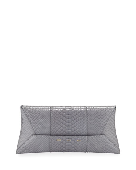 Manila Stretch Topstitch Shiny Python Clutch Bag, Ice Blue