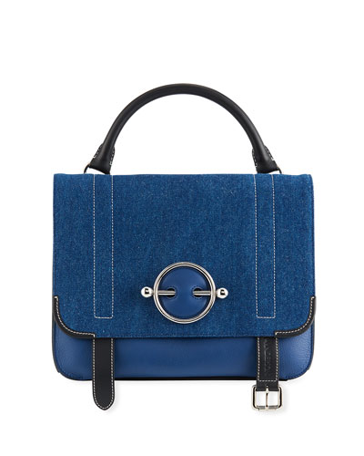 Disc Layered Denim Satchel Bag