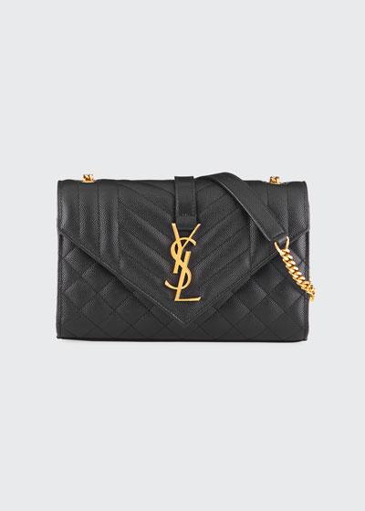 Monogram Envelope Small Chain Shoulder Bag - Golden Hardware