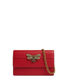 Queen Margaret Leather Bee Wallet On Chain Bag by Gucci