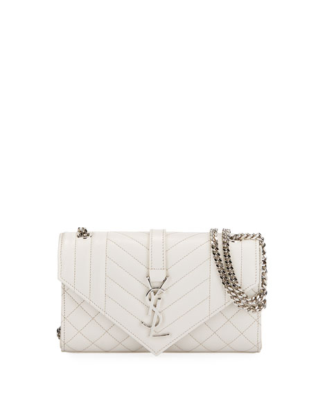 492ffaeb12d Saint Laurent Monogram YSL Envelope Small Chain Shoulder Bag - Silver  Hardware