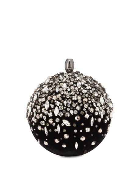 Image 1 of 1: Orb Crystal Embroidered Velvet Clutch Bag
