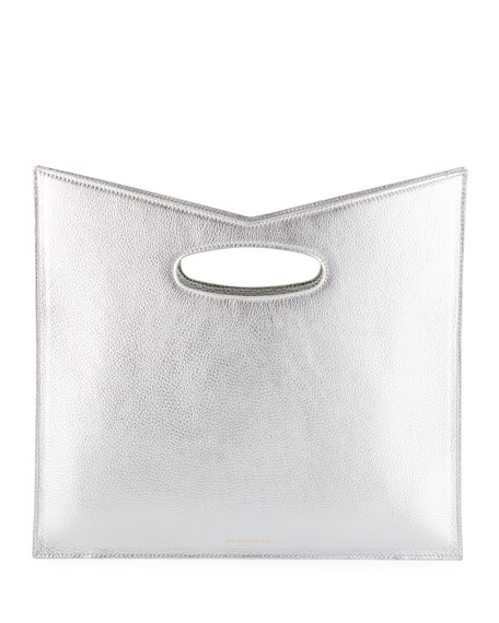 Bustina Metallic Leather V-Top Clutch Bag