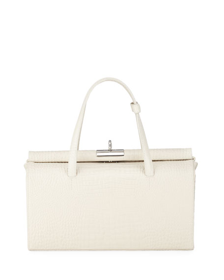 Image 1 of 1: Margot Small Croc-Embossed Top-Handle Bag