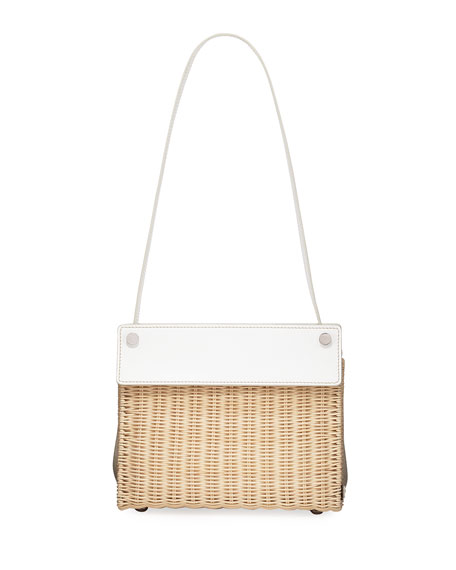 Image 1 of 1: Wicker and Linen Shoulder Bag