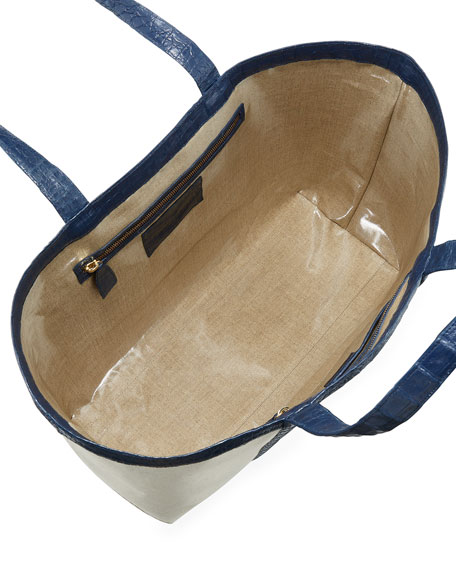 Carryall Crocodile & Linen XL Tote Bag