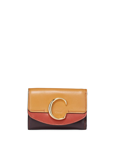 C Mini Tri-Fold Leather Crossbody Bag