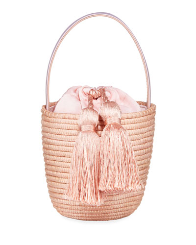 Woven Party Pail Bucket Bag  Light Pink