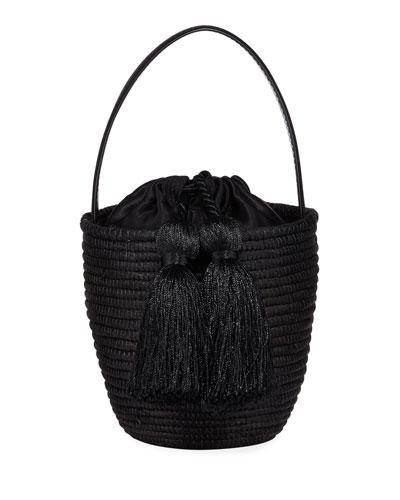 Woven Party Pail Bucket Bag  Black