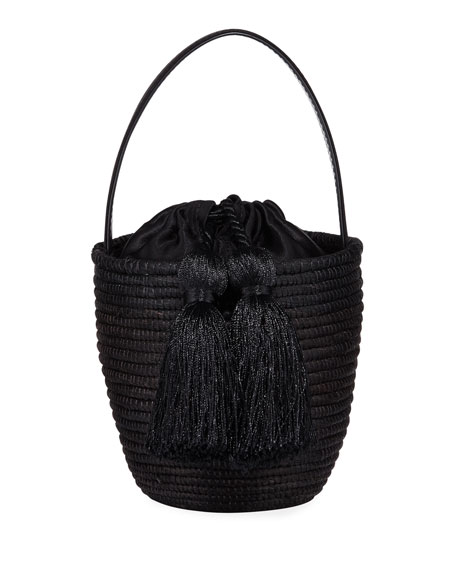 Woven Party Pail Bucket Bag, Black