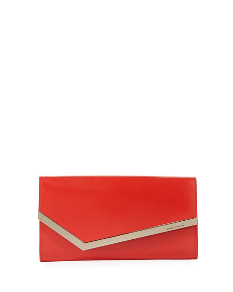 Emmie Patent Leather Clutch Bag, Red