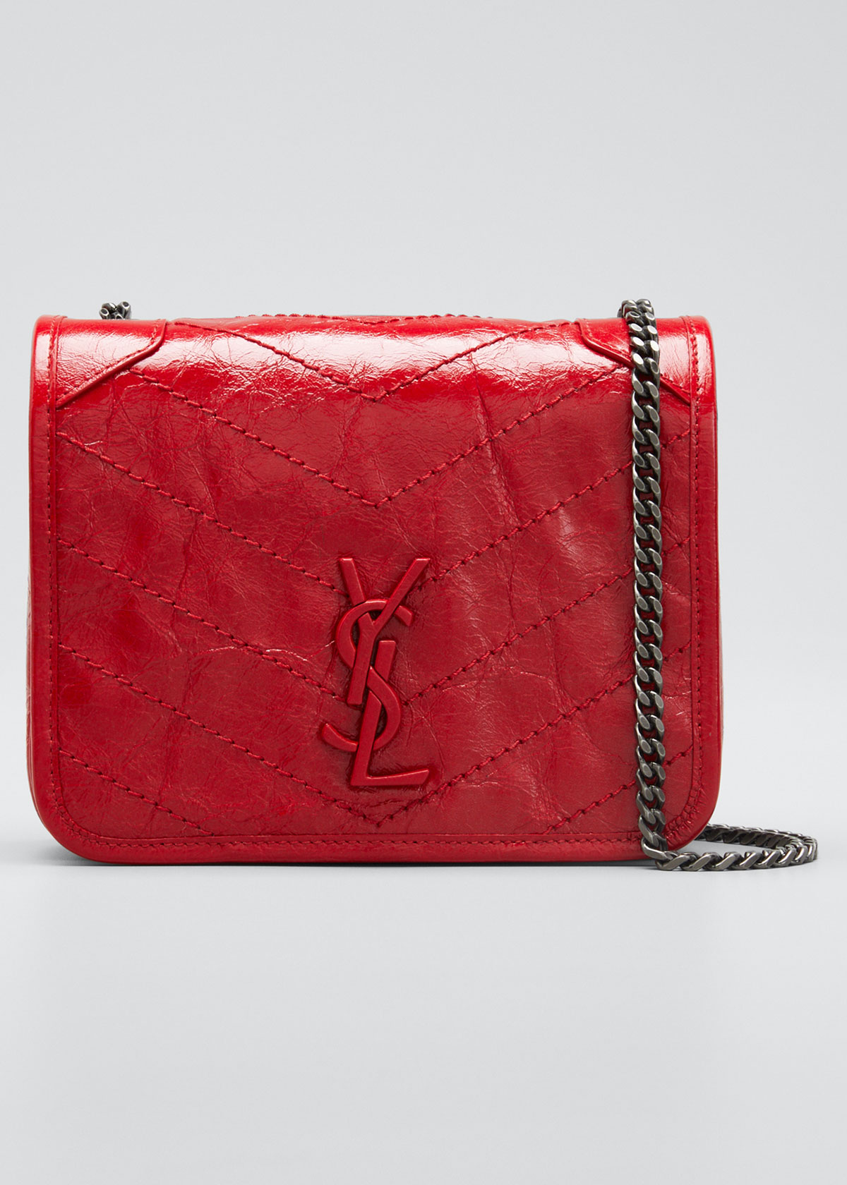 Niki Ys Monogram Leather Wallet On Chain by Saint Laurent