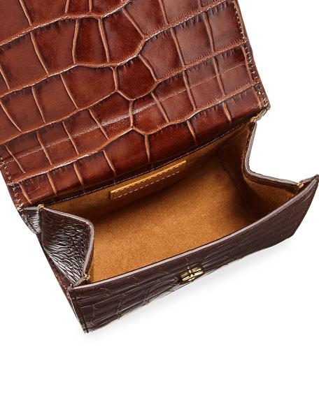 Crocodile-Embossed Top Handle Bag