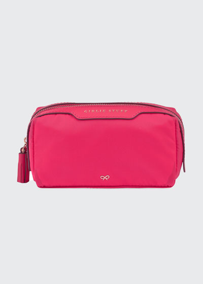 Girlie Stuff Nylon Cosmetics Bag, Hot Pink