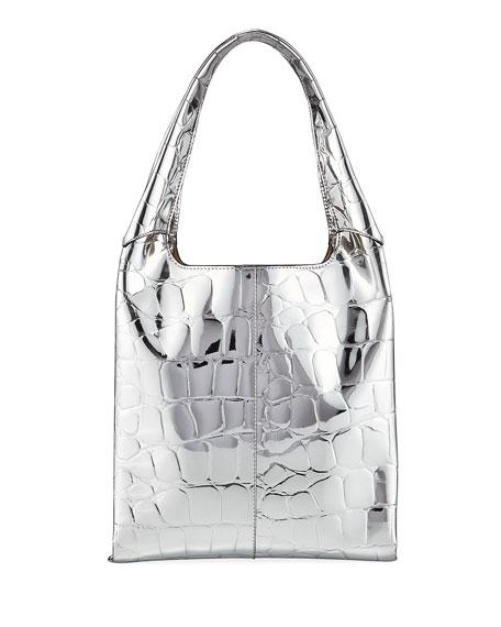 1712 Embossed Faux-Leather Basket Bag
