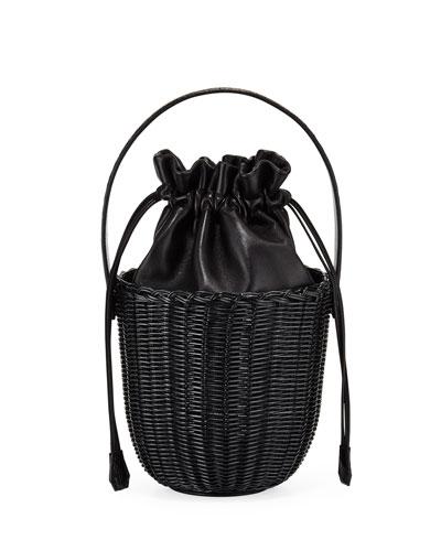 Wicker & Leather Drawstring Bucket Bag