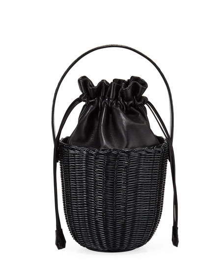 Wicker & Leather Drawstring Bucket Bag