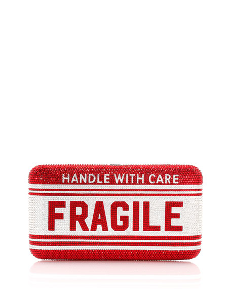 Crystal Fragile Caution Smooth Rectangular Clutch Bag