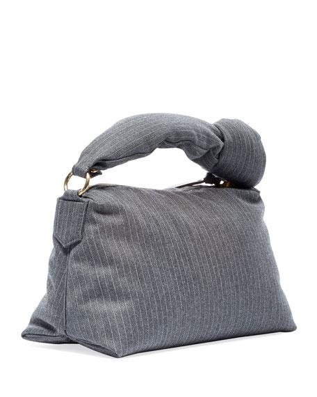 Pinstripe Knotted Shoulder Bag