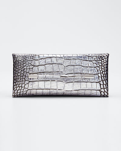 Ava Laminated Embossed Croc Pochette Clutch Bag