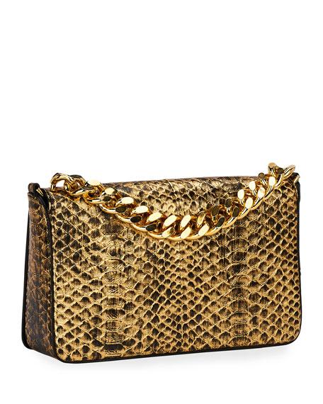 Large Laminated Python TF Shoulder Bag