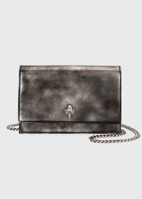 Image 1 of 1: Brushed Skull Shiny Crossbody Bag