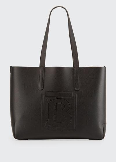 TB Embossed Internal-Monogram Medium Tote Bag  Black