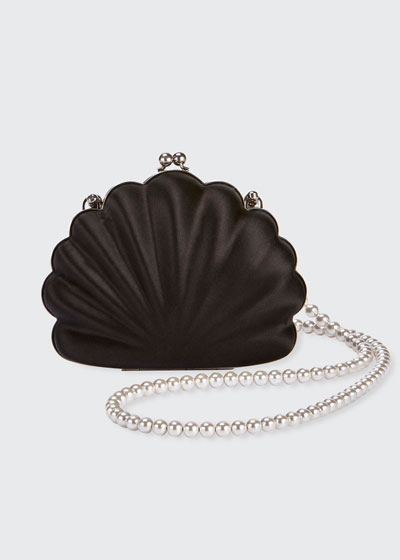 Beads Shell Satin Clutch Bag