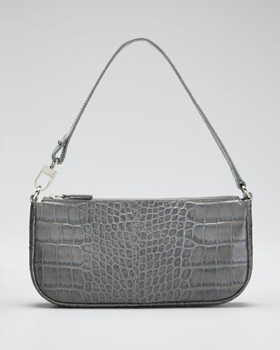 Rachel Small Croc-Embossed Shoulder Bag  Gray