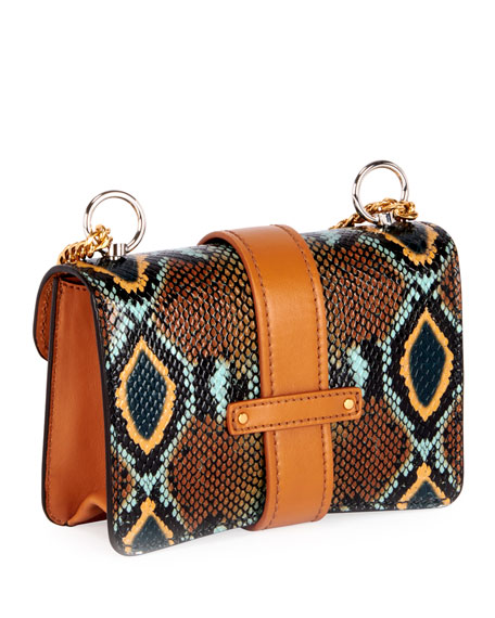 Aby Mini Snake-Embossed Leather Shoulder Bag