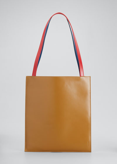 Flat Tote Bag in Shiny Calfskin