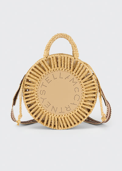 Round Woven Raffia Shoulder Bag