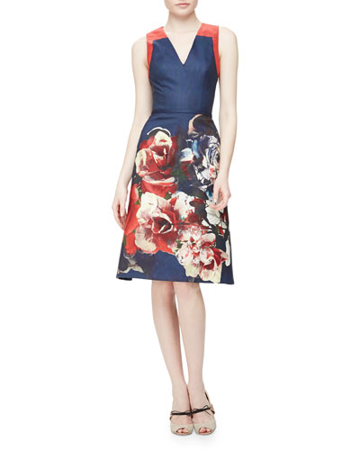 Floral Bouquet Faille Fit-And-Flare Dress