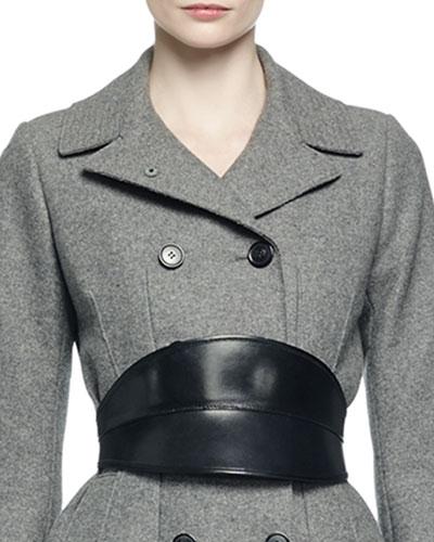 No-Buckle Leather Waist Belt