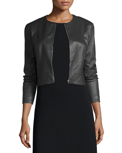 Cropped Leather Zip-Front Jacket  Black