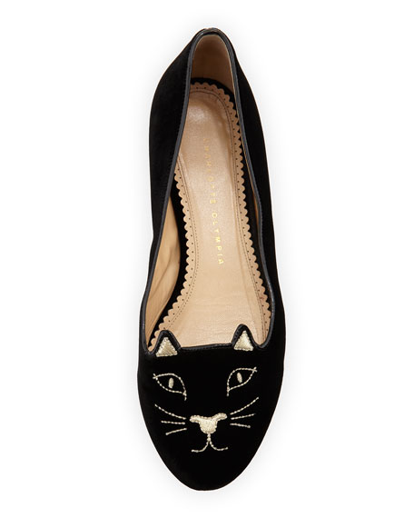 Kitty Velvet Cat-Embroidered Flat