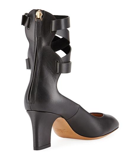 Plum Leather Back-Zip Ankle-Wrap Pumps