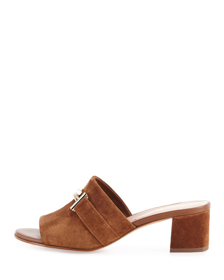 Suede Double-T Mule Sandal, Brown