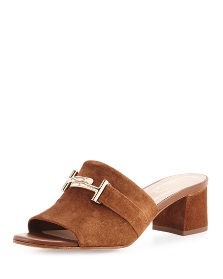 Suede Double-T Mule Sandal, Brown