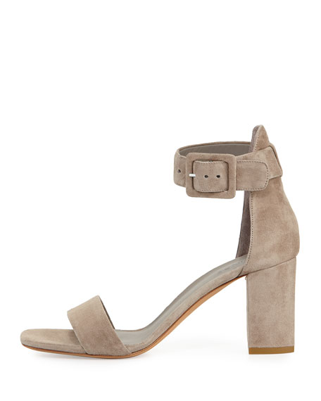 Suede Ankle-Strap City Sandal