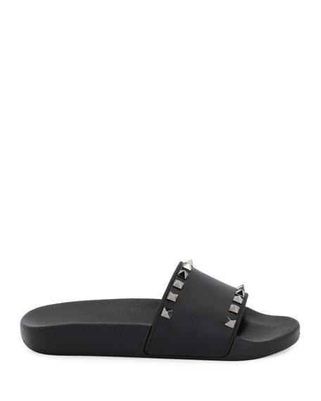 Rockstud Pool Slide Sandals, Black