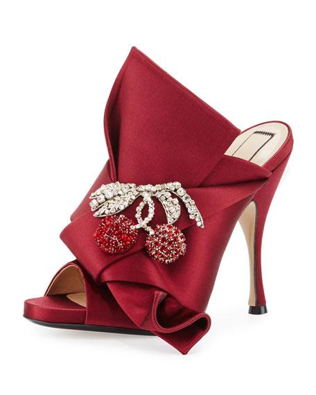 Cherry-Embellished Satin 100mm Mule Sandal, Black
