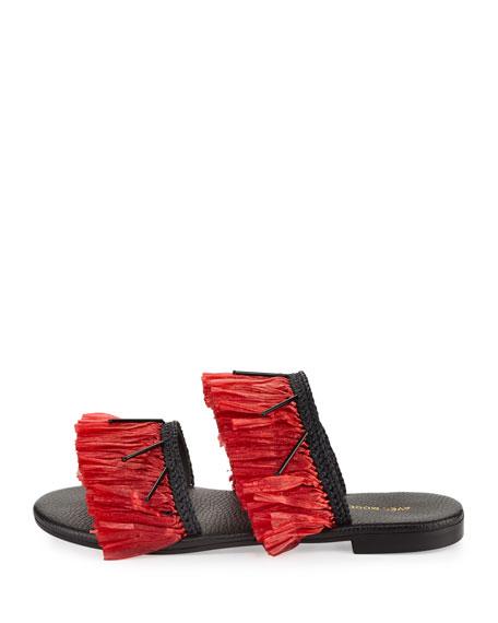 Ibiza Fringed Flat Two-Band Slide Sandal