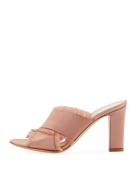 Frayed Satin Crisscross Mule Sandal