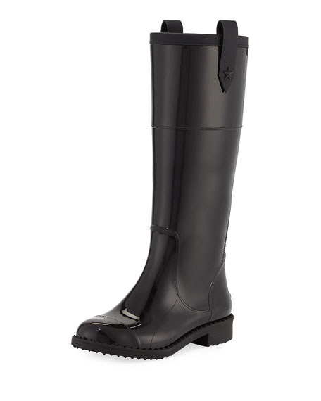 Edith Tall Rubber Rain Boot, Black by Jimmy Choo