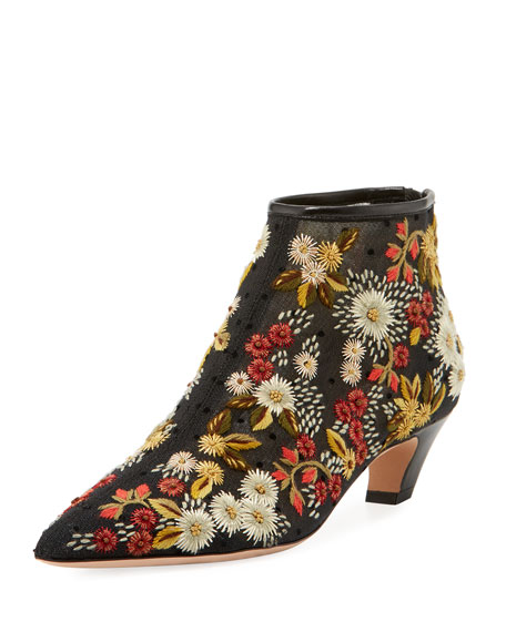 Dioreve Floral-Embroidered Plumetis Boot