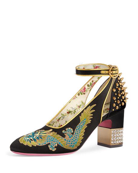 807b897567c Gucci Caspar Embroidered Satin Ankle-Wrap Pump