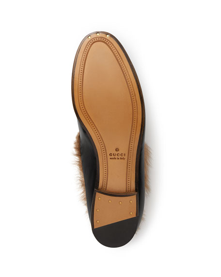f701b4299fc Gucci 10mm Jordaan Leather And Fur Loafer