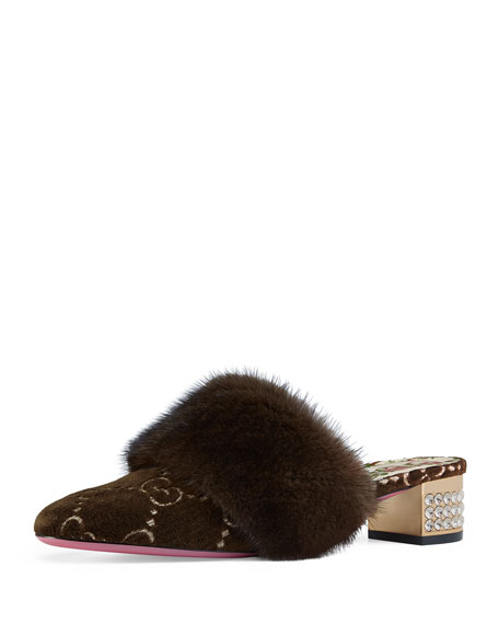 35mm Candy Velvet GG Mule With Fur Trim